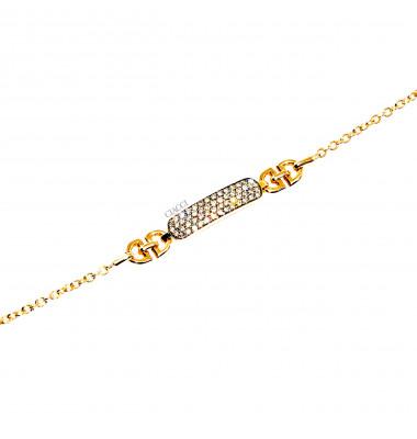 Bracciale Crivelli Piastrina Oro Rosa 18kt Brillanti Brown 07160140