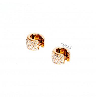 Orecchini Crivelli Cerchio Piccolo Oro Rosa 18kt Brillanti 74833584