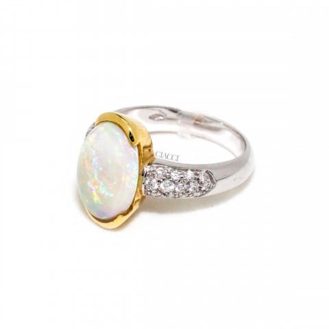 G1225-AA634 Anello Oro Bianco Opale
